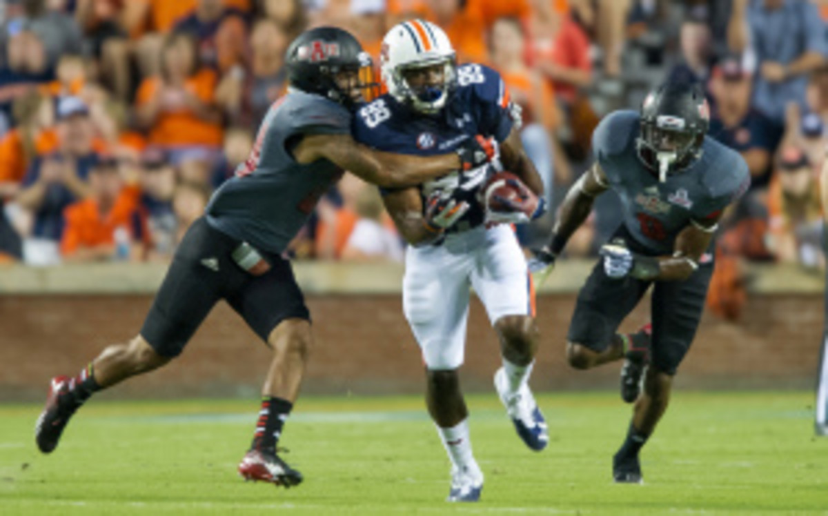 Auburn wide receiver Jaylon Denson will miss the rest of the season with a knee injury. (Michael Chang/Getty Images)