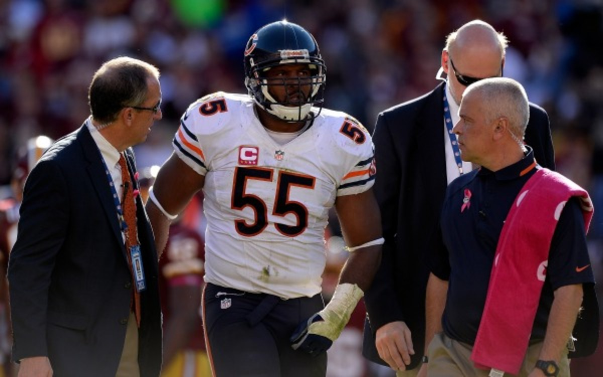 Bears linebacker Lance Briggs has 64 total tackles and two sacks this season. (Patrick McDermott/Getty Images)