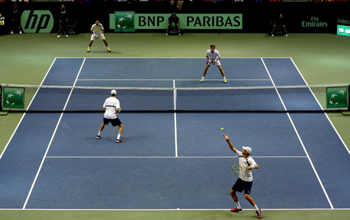 In a match that went almost four and a half hours, Serbia beat the U.S. in doubles at the Davis Cup.