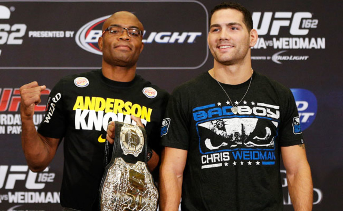 Neither Anderson Silva (left) nor Chris Weidman has ever lost in the UFC.