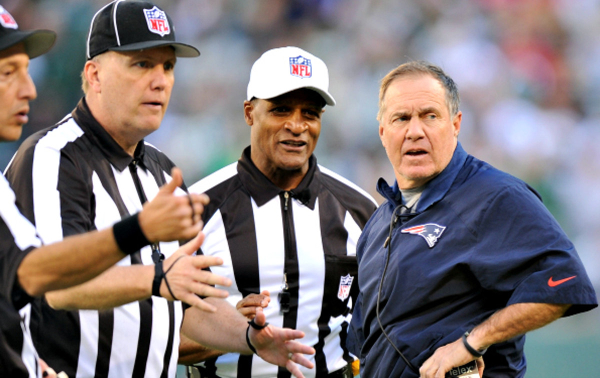 Patriots' Head Coach Bill Belichick says the Jets are also guilty of illegal pushing on FG attempts.