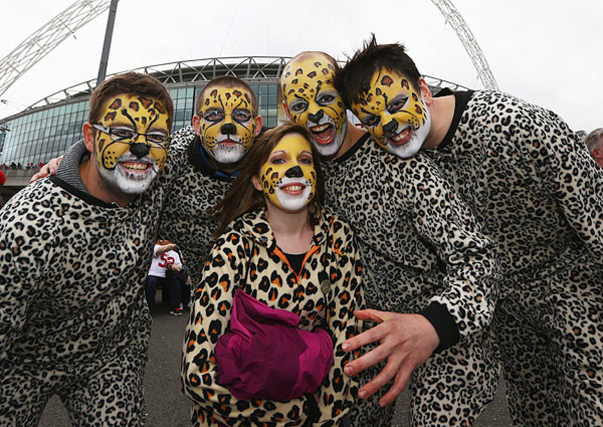 Fans in London showed their love for the 'hometown' Jaguars with these costumes.