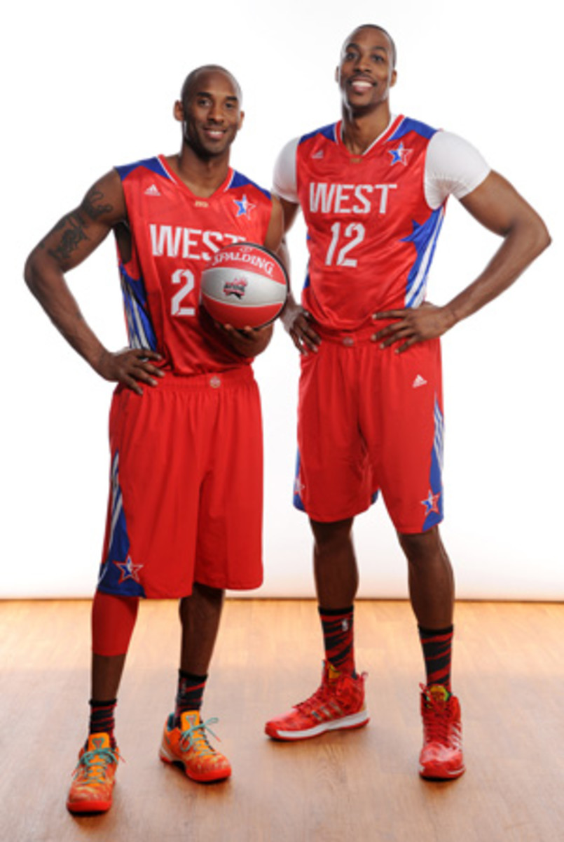 Kobe Bryant, left, and Dwight Howard pose at 2013 All-Star Weekend. (Jennifer Pottheiser/Getty Images)