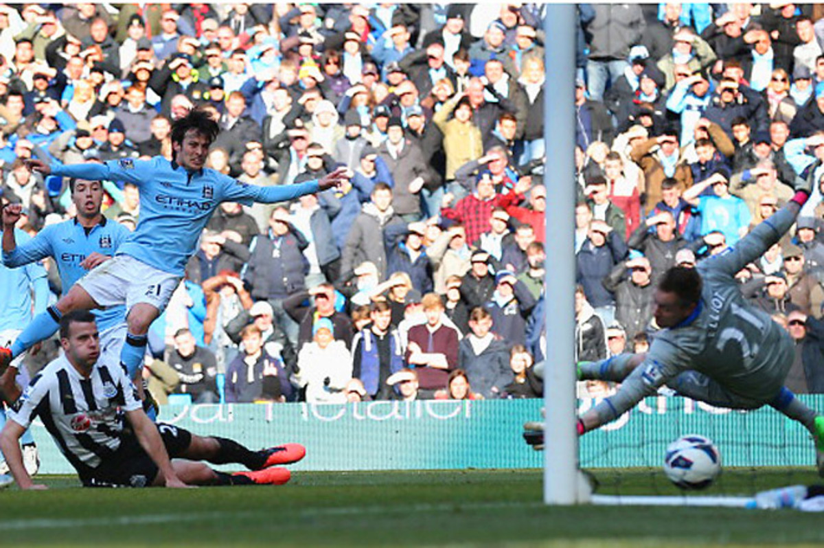 Manchester City's high-scoring day included a goal from David Silva in the 45th minute.