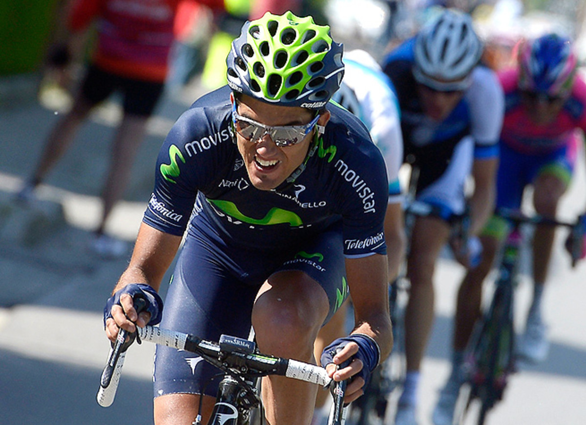 Benat Intxausti pedals through the 16th stage of the Giro d'Italia, which started in Valloire, France and ended in Ivrea, Italy.