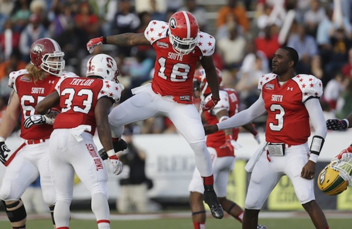 South teammates having a Senior Bowl moment. (AP)