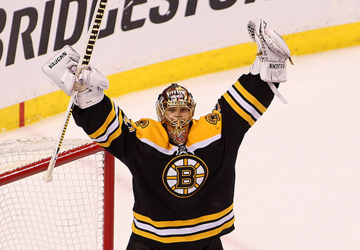 Boston's Tuukka Rask stopped 134 of 136 shots in the series and recorded two shutouts. (Alex Trautwig/Getty Images)