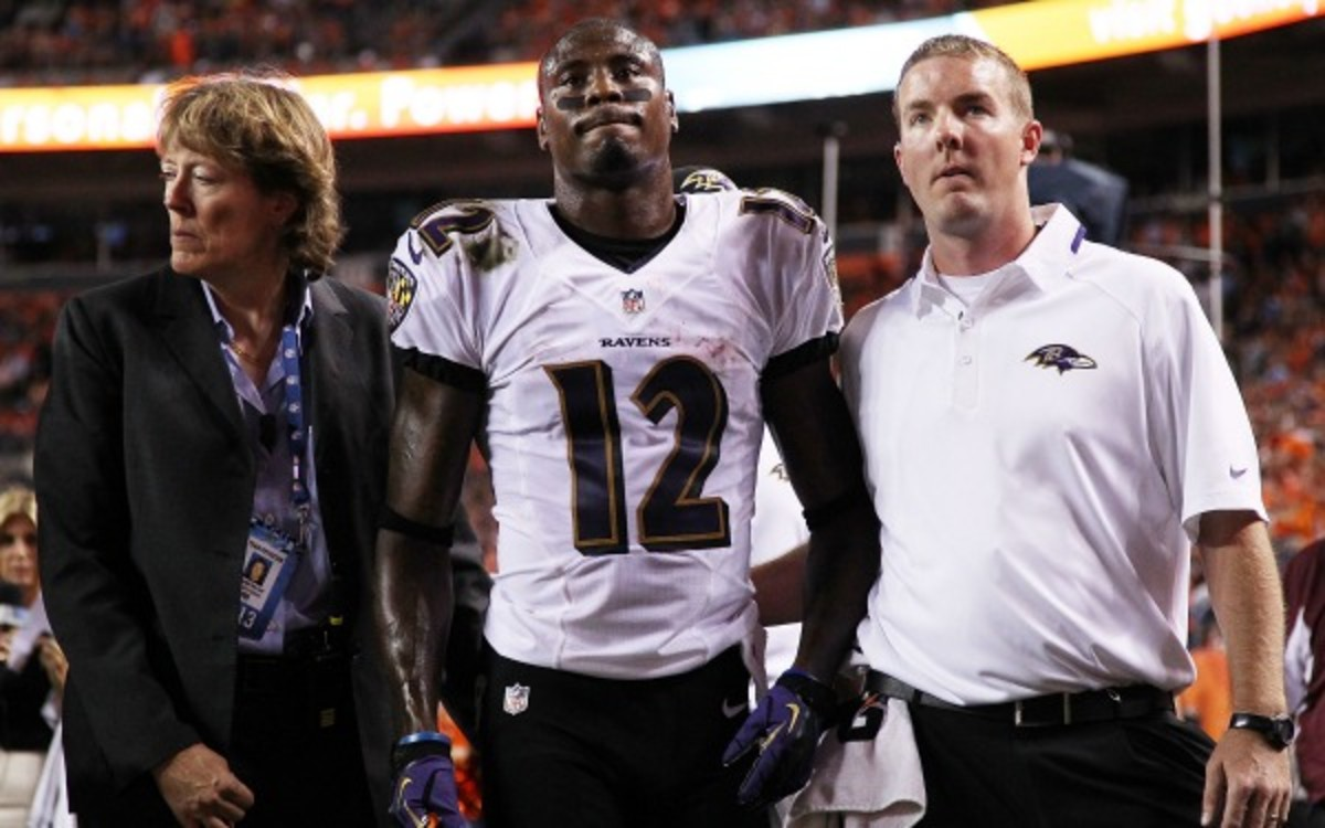 Jacoby Jones will miss the next four to six weeks with an MCL sprain. (Doug Pensinger/Getty Images)