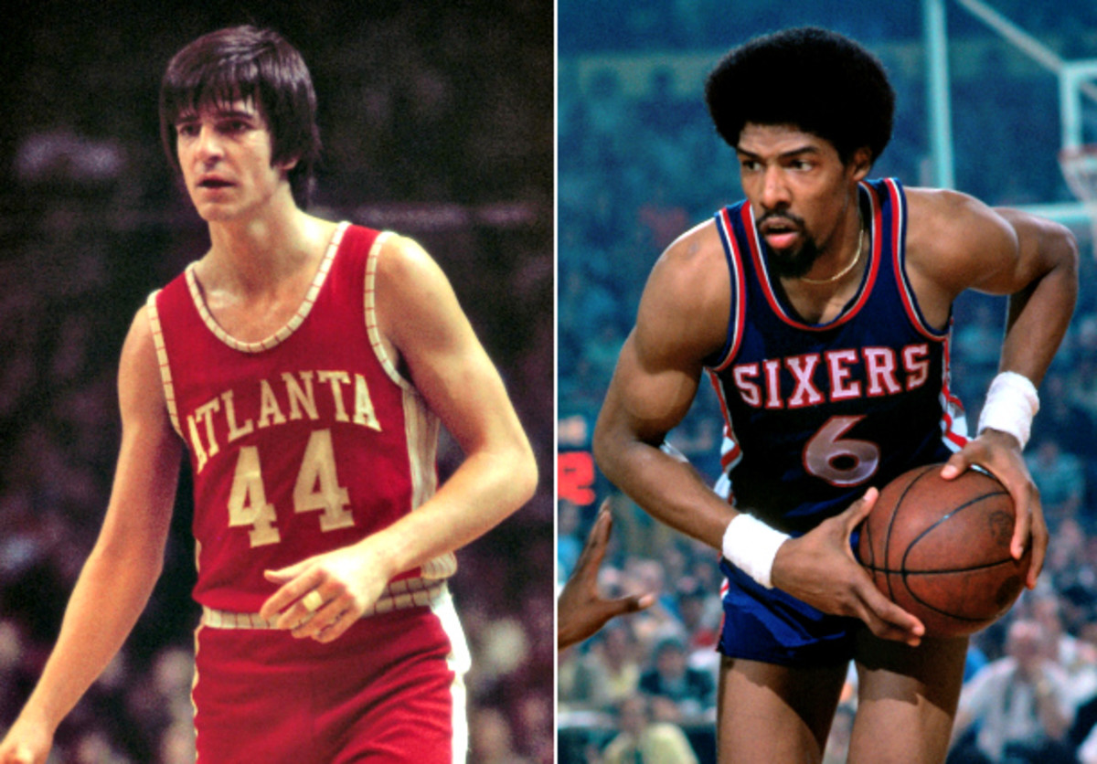 Pete Maravich and Julius Erving became fast friends during their brief time together in Atlanta. (Dick Raphael/NBAE via Getty Images)
