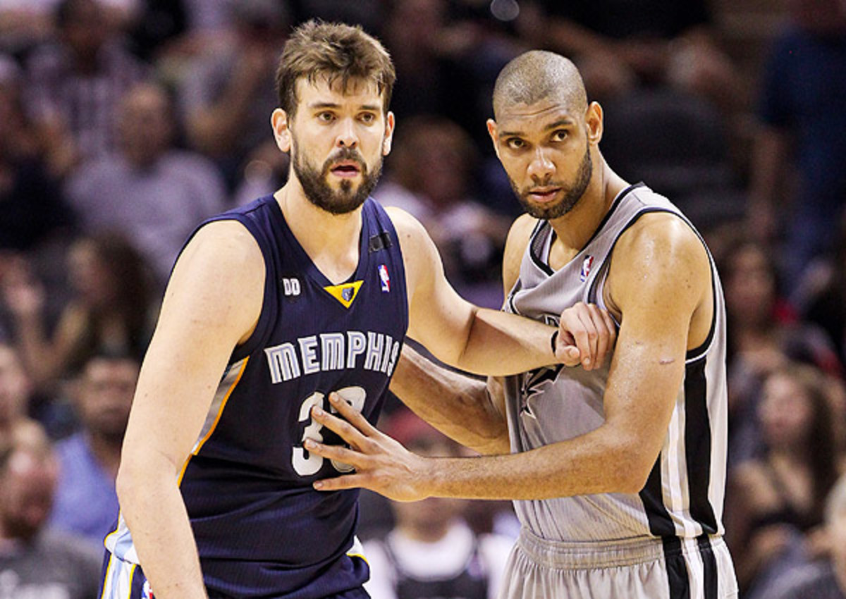 Tim Duncan (right) is averaging 15.7 points and 9.7 rebounds in the Western Conference finals.
