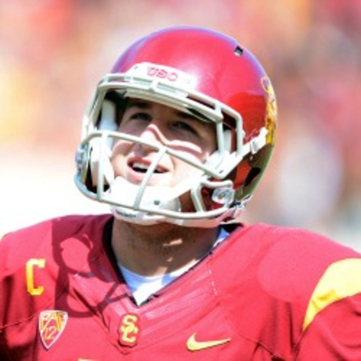 Quarterback Matt Barkley is projected as a second-round pick after throwing 116 touchdown passed during his USC career. (Harry How/Getty Images)