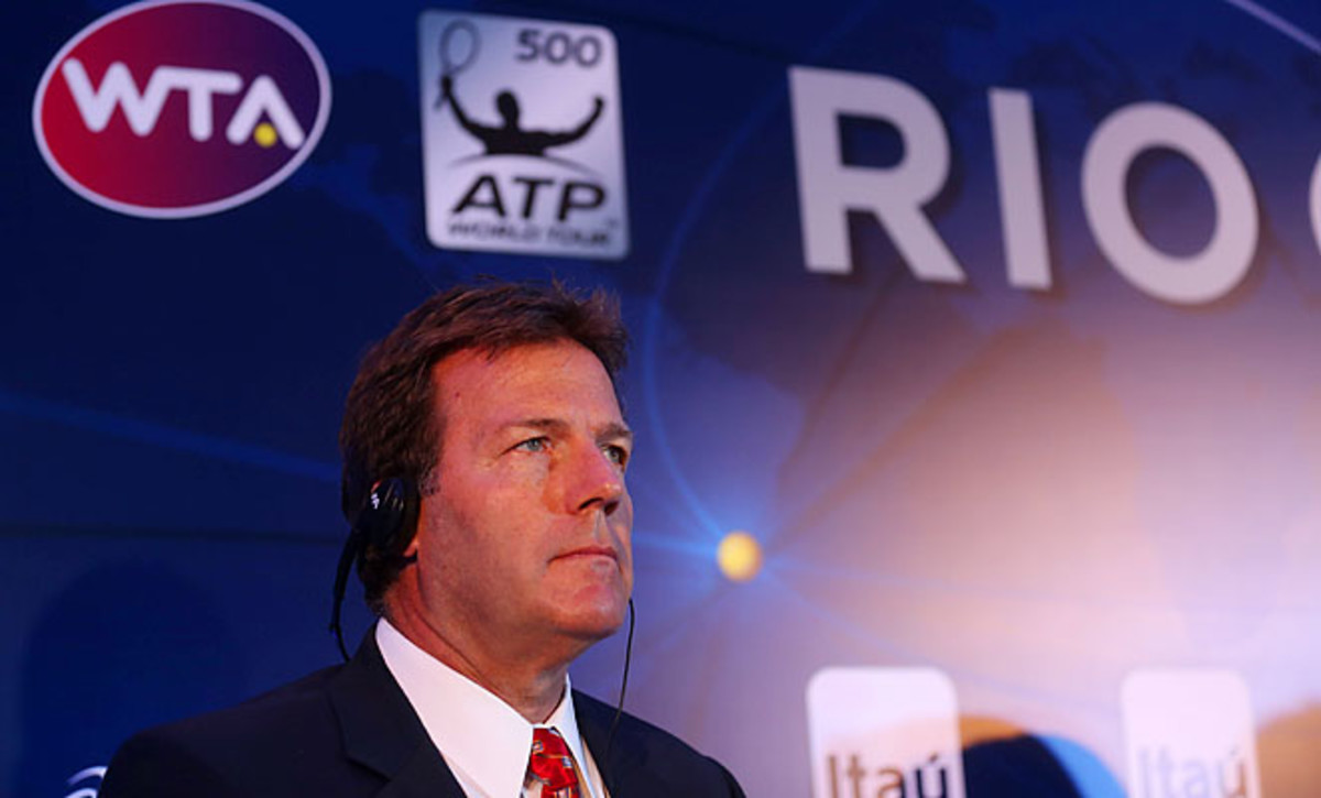 ATP president Mark Young speaks during a press conference for the Rio Tennis Open on Wednesday.