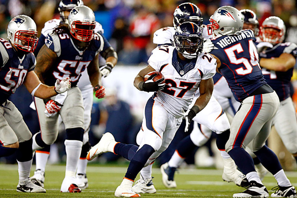 Having jumped to a 17-point first-quarter lead, Denver leaned on Knowshon Moreno—and probably should have leaned harder, as New England couldn't stop him. (Jared Wickerham/Getty Images)