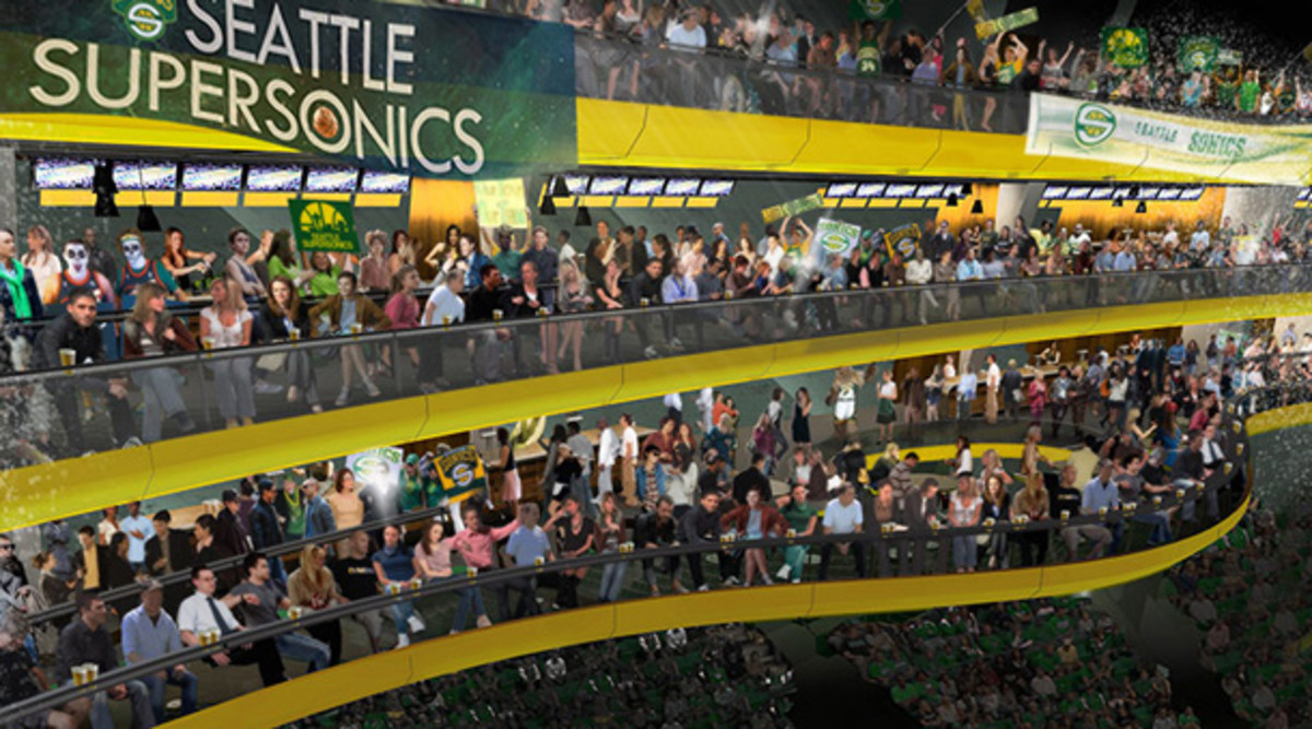 A rendering of the court view for a new Sonics arena. (SonicsArena.com)