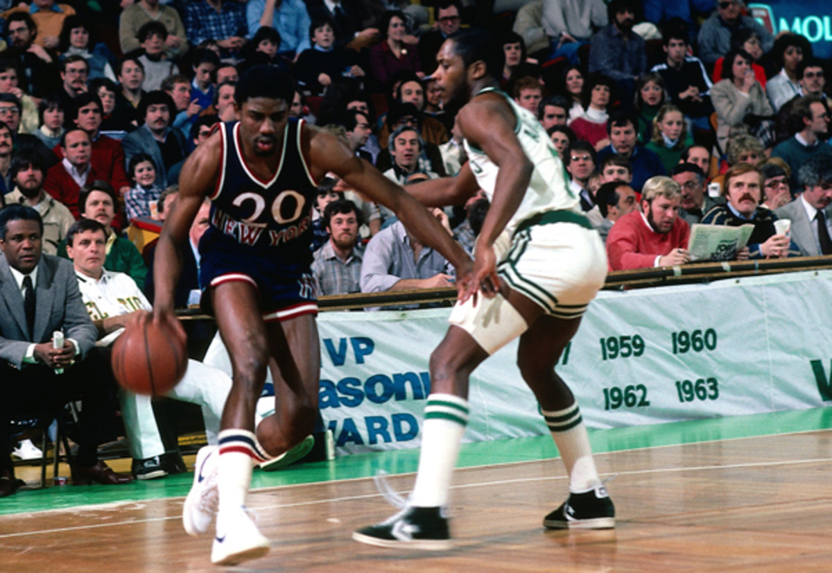 Knicks guard Micheal Ray Richardson (left) averaged a team-high 17.9 points per game in 1981-82.