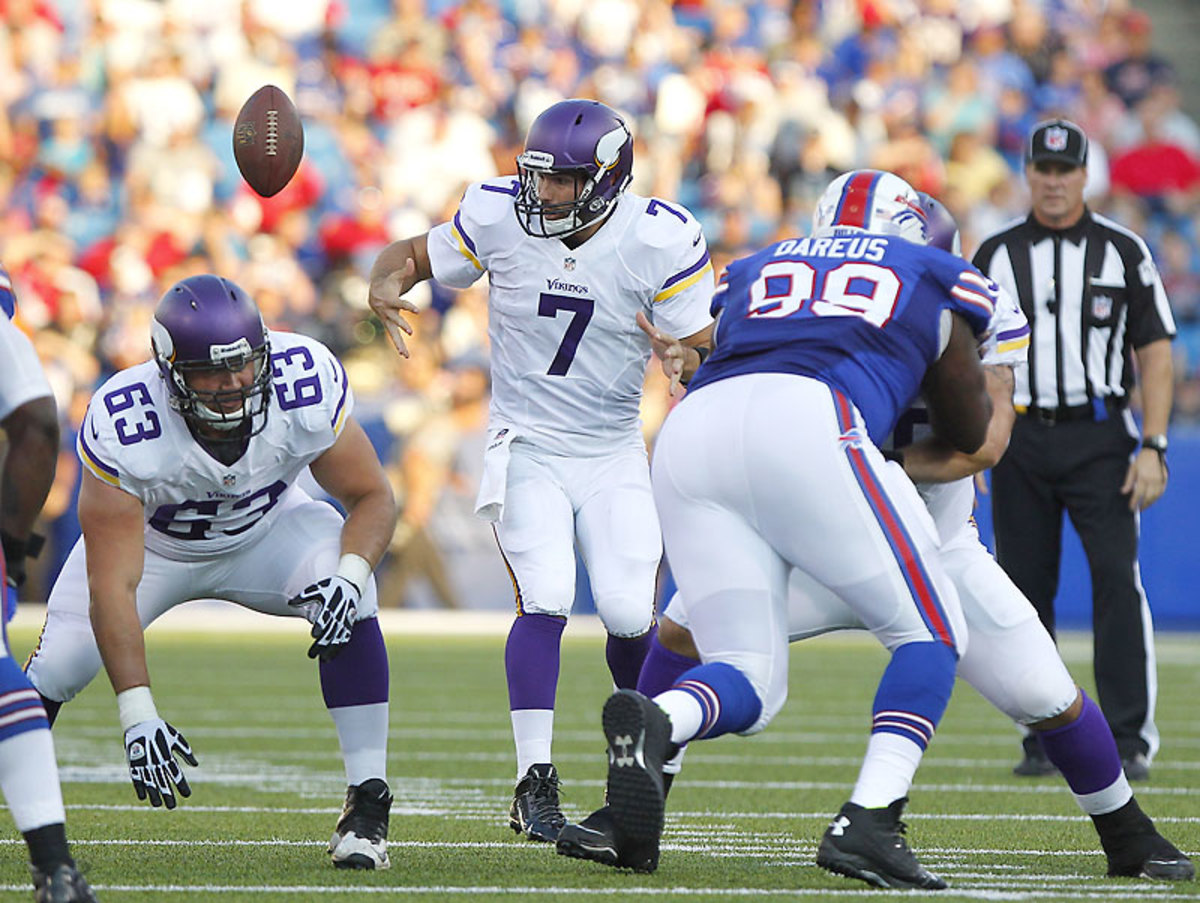 He'll have some support when AD is in the backfield, but Ponder's 5-for-12 and two sacks against Buffalo left the Vikes with plenty to . . . well, ponder. (Bill Wippert/AP)