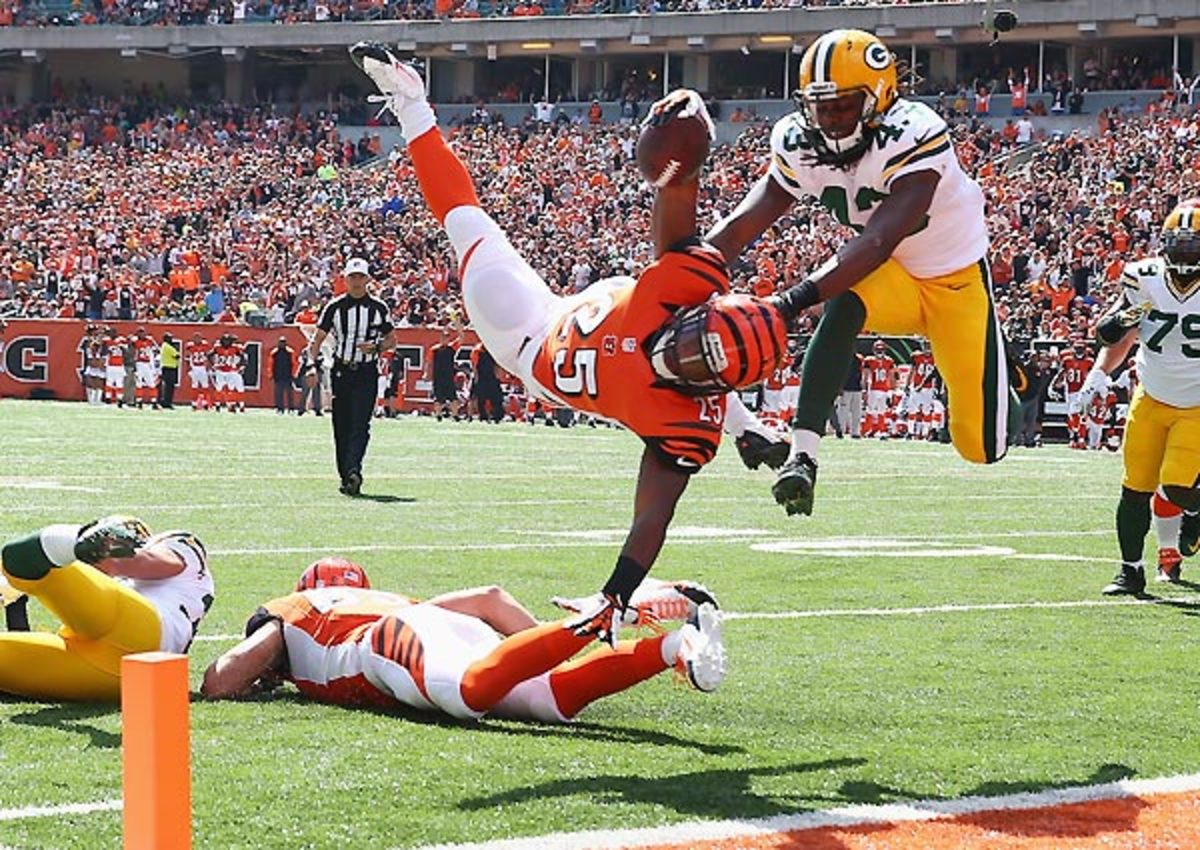 Giovani Bernard went airborne for this touchdown in the Bengals' 34-30 win.