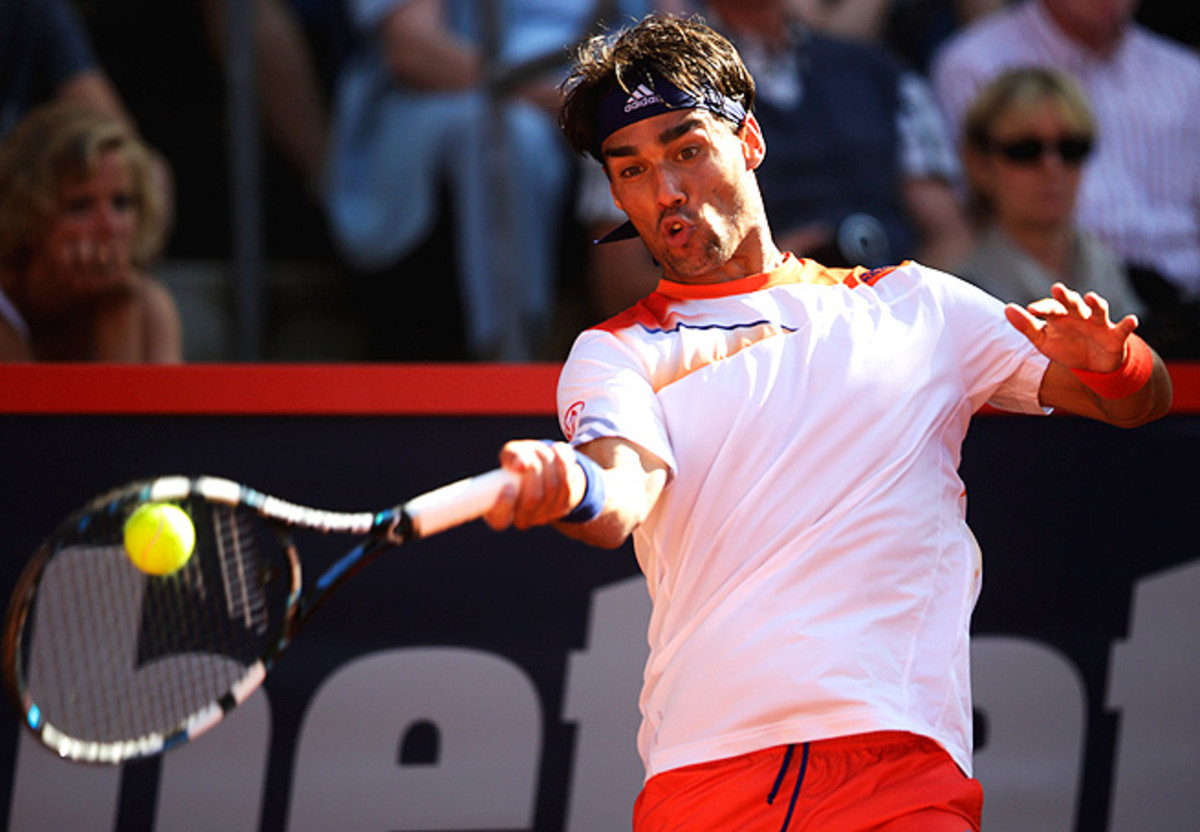 Fabio Fognini saved the only break point he faced against Dominic Inglot, late in the second set.