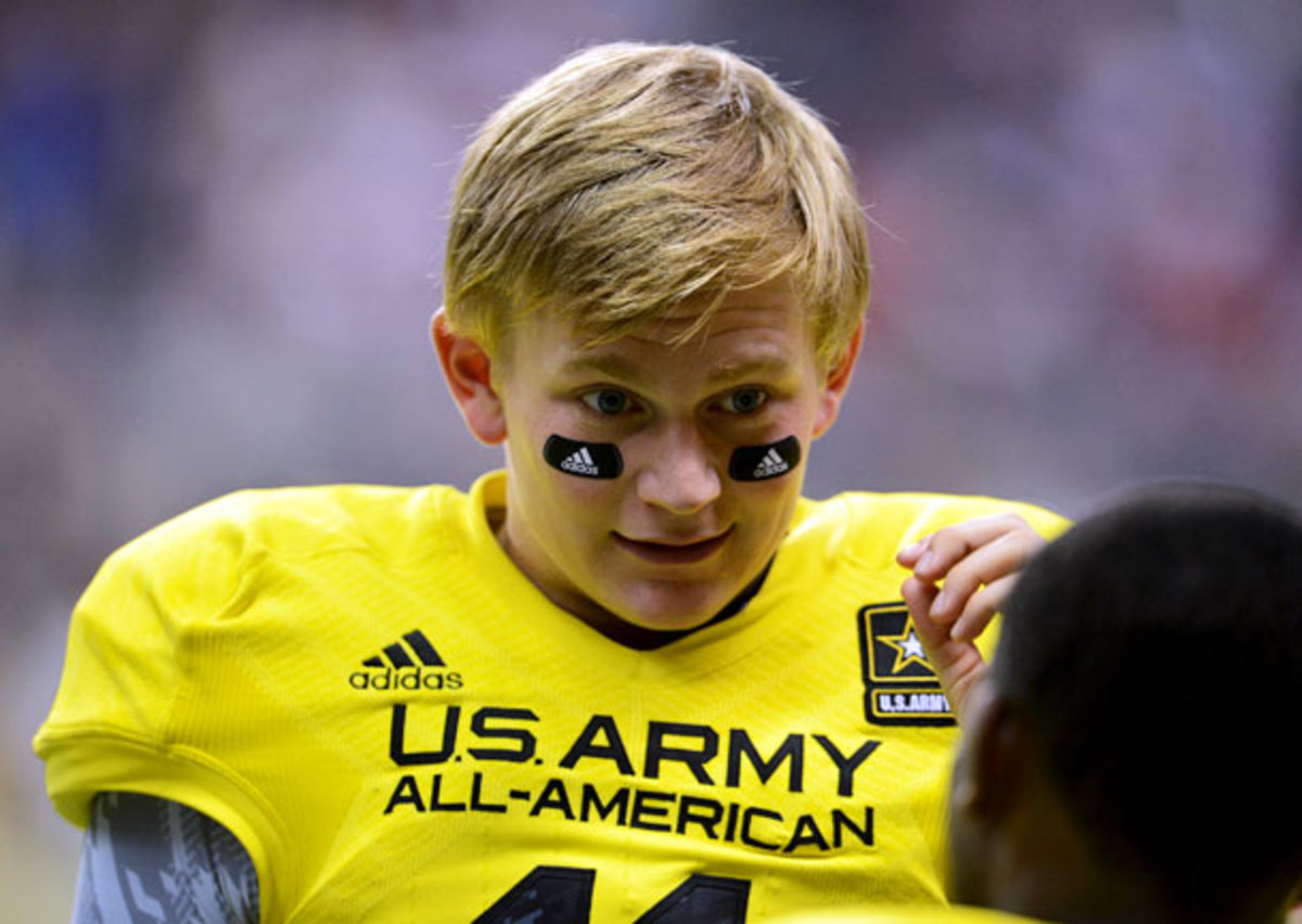 LSU signee Hayden Rettig has the elements required of a D-I quarterback: a strong arm, and striking hair. (John Albright/Icon SMI)