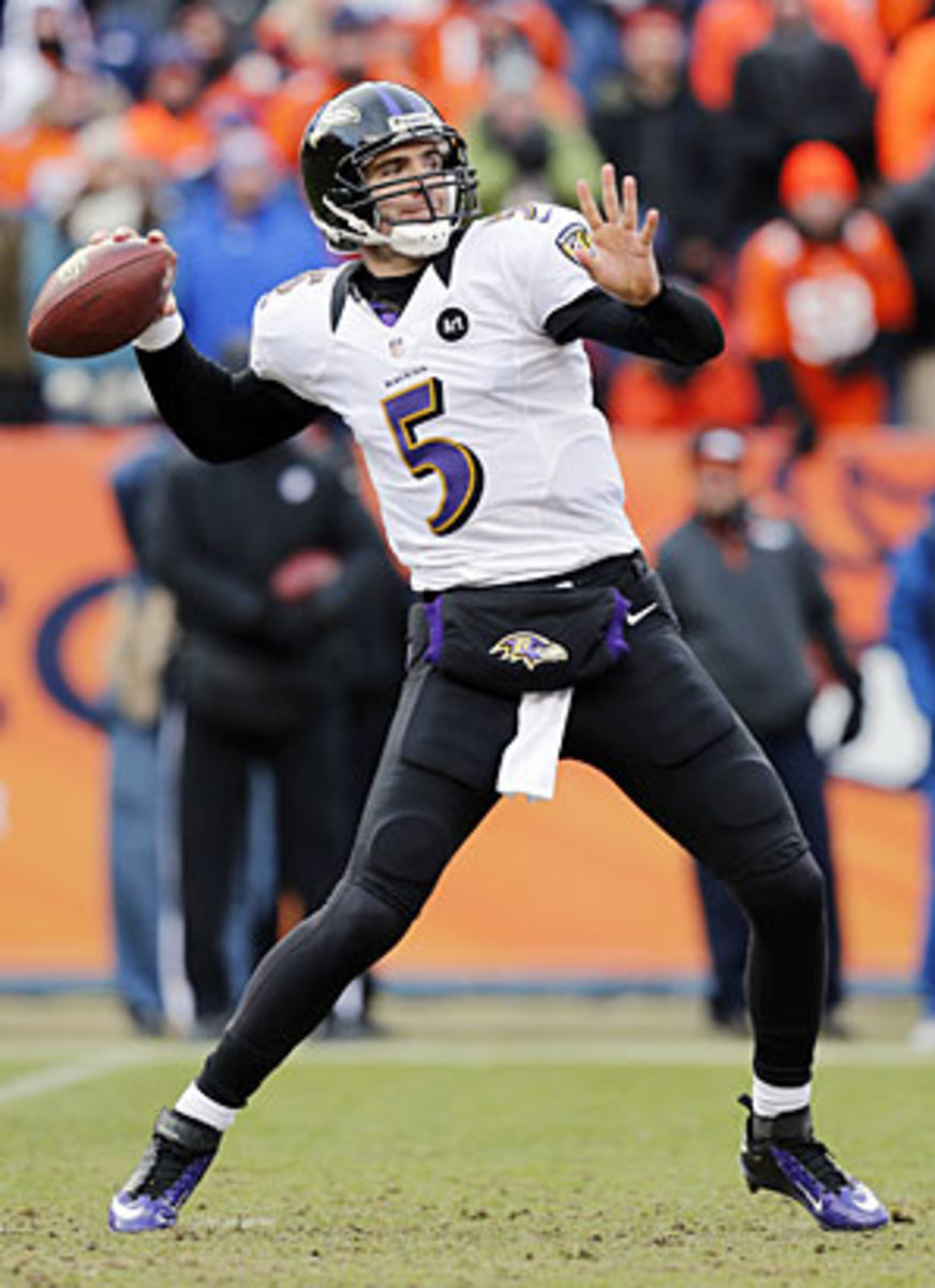 With a commitment to the run under offensive coordinator Jim Caldwell, Joe Flacco has found more chances to pass deep.