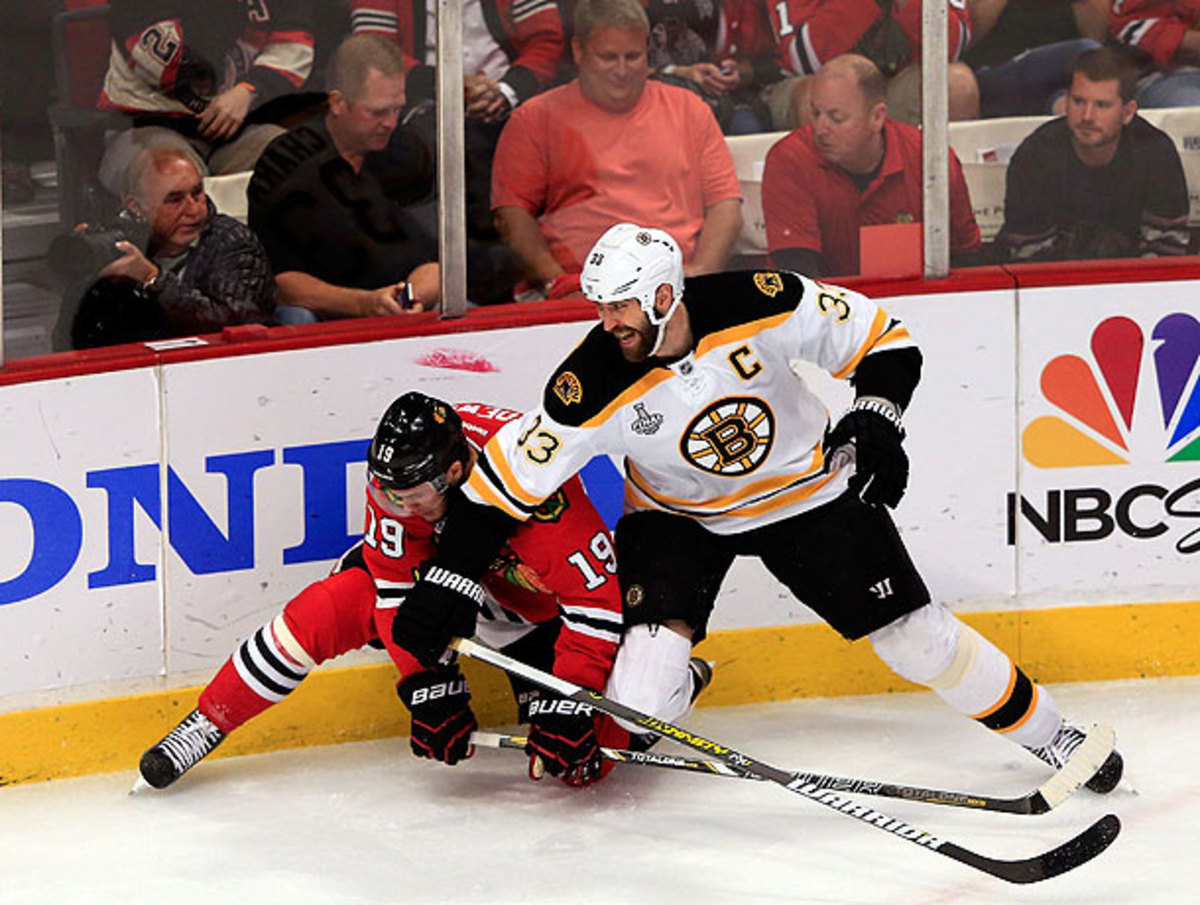 Hits like this one from Boston's Zdeno Chara probably did not help whatever is ailing Jonathan Toews