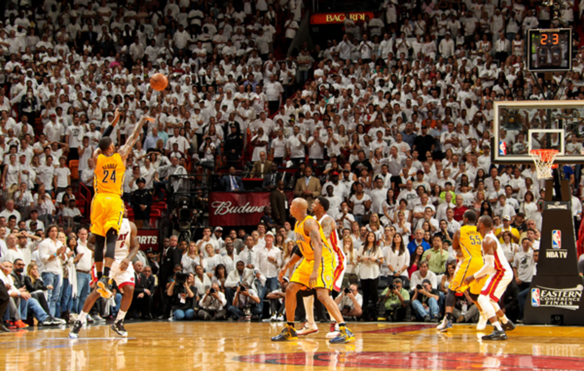 Paul George forced overtime with this three-pointer. (Issac Baldizon/Getty Images)