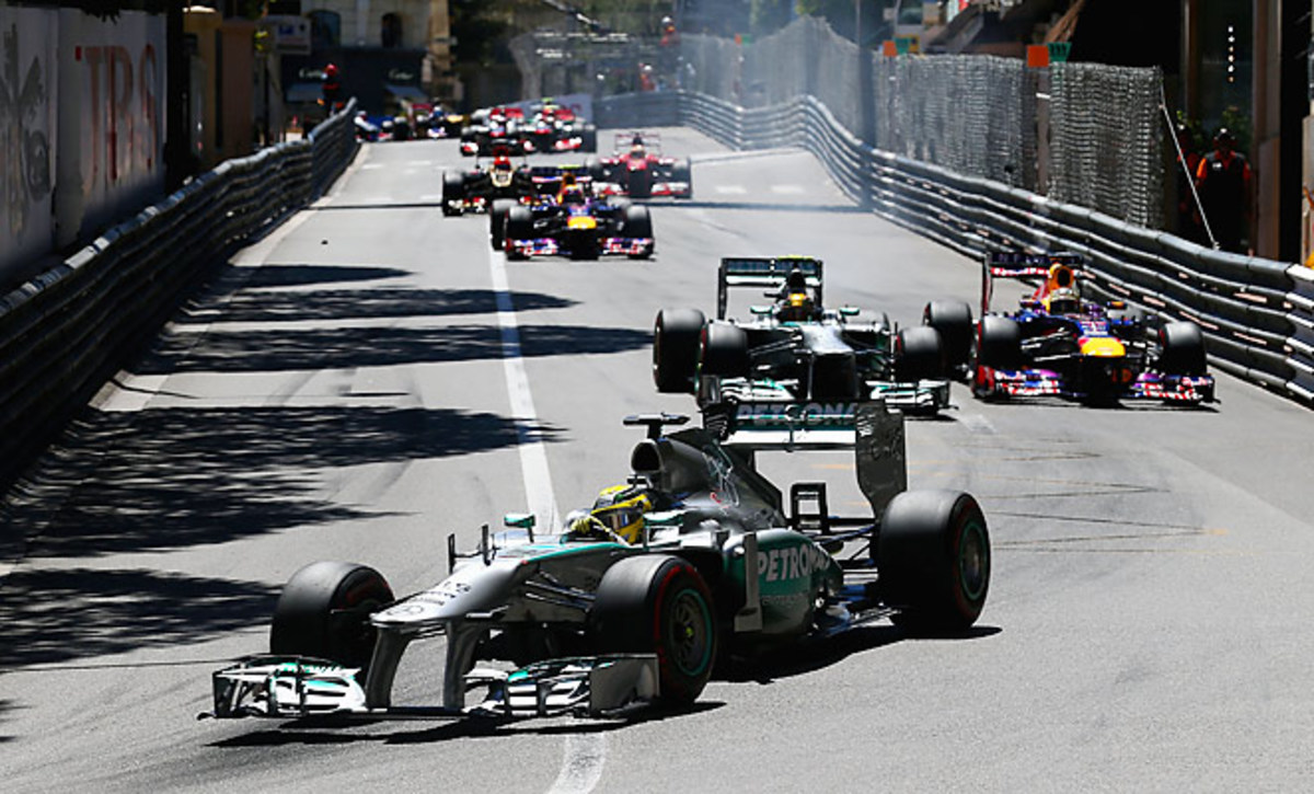 German driver Nico Rosberg (front) won the Monaco Grand Prix 20 years after his father won it.