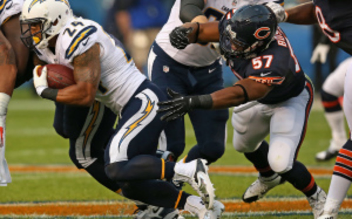 Bears rookie Jon Bostic was reportedly fined $21,000 by the NFL on Wednesday for his hit on the Chargers' Mike Willie. (Jonathan Daniel/Getty Images)