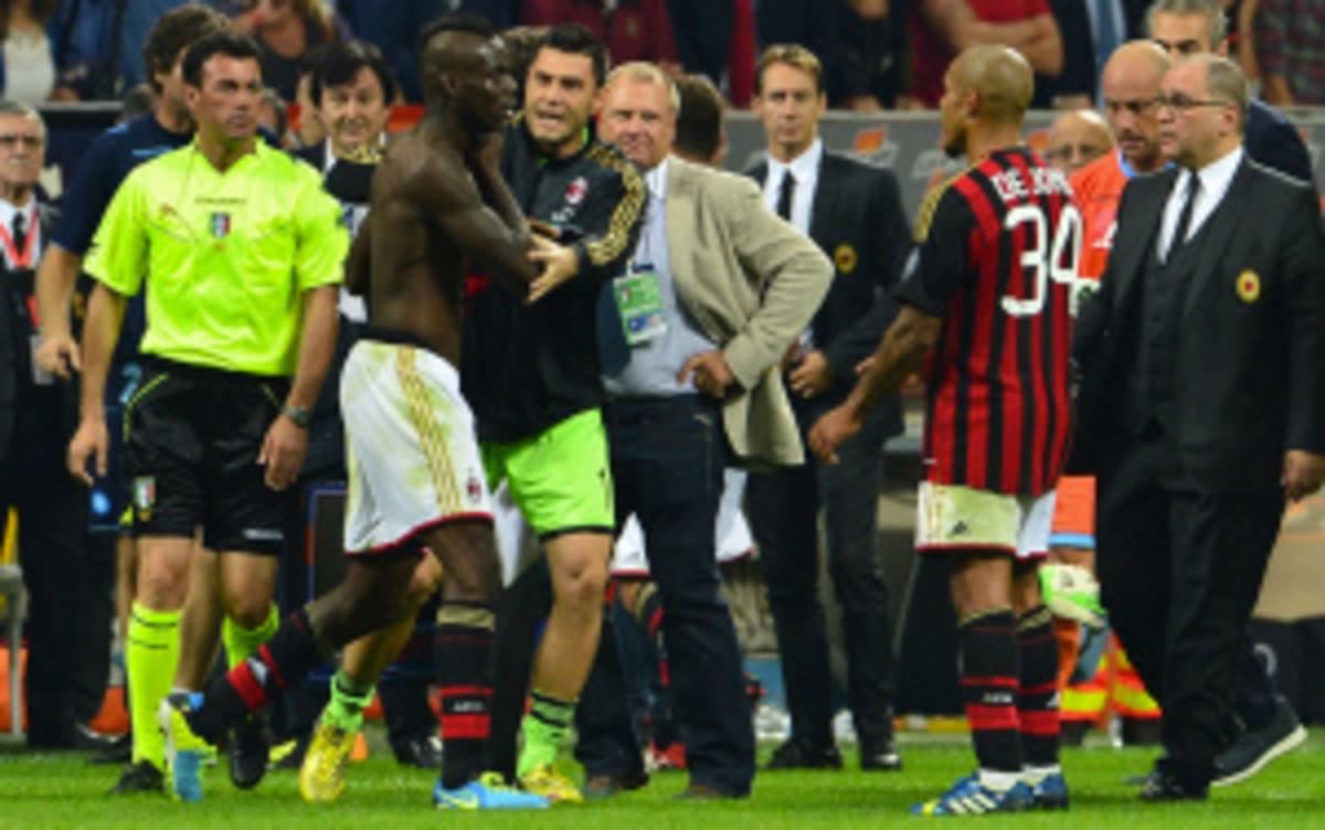 AC Milan said Tuesday it will not appeal the 3-game ban handed down to its forward, Mario Balotelli, this week. (Giuseppe Cacase/Getty Images)
