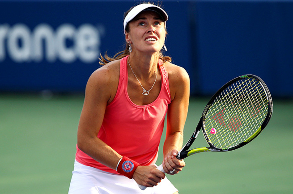 Martina Hingis returned to tennis briefly to play doubles with partner Daniela Hantuchova.