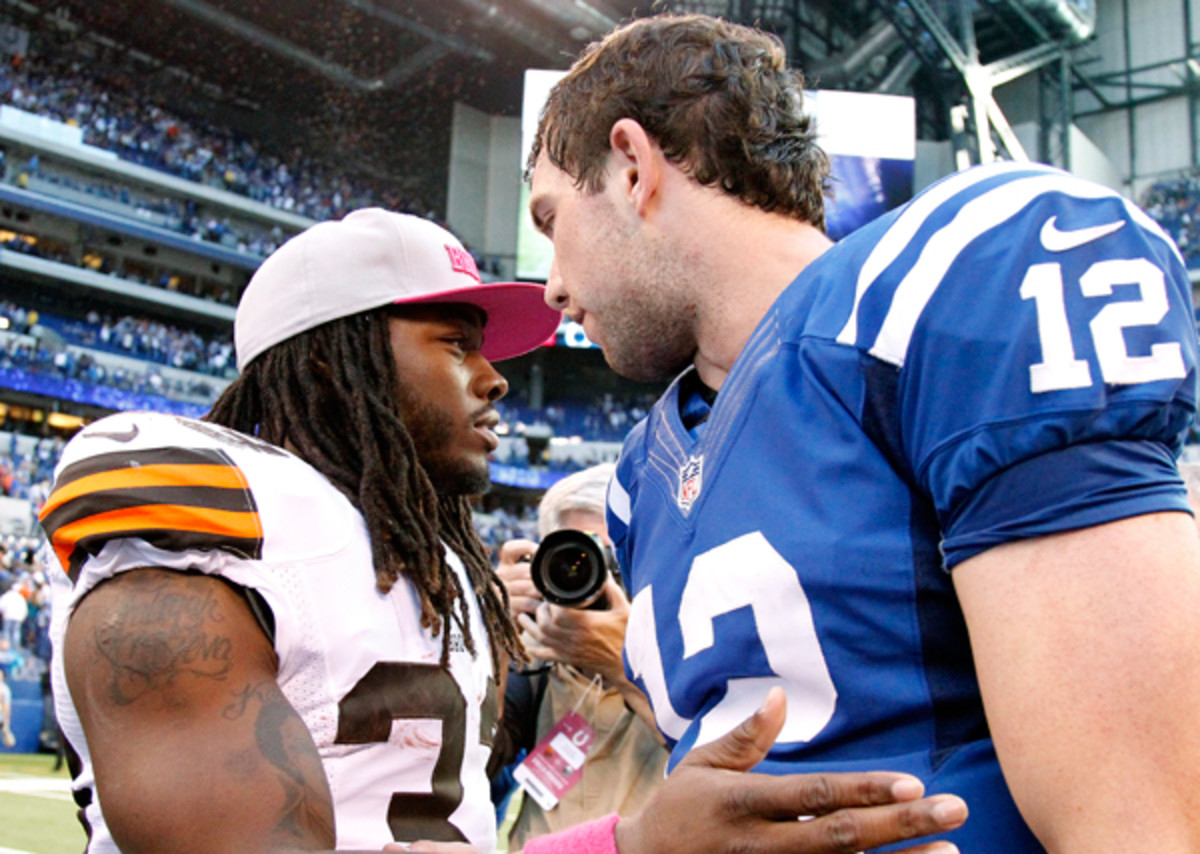 Trent Richardson and Andrew Luck, seen here in Oct., 2012, can help each other in many ways.