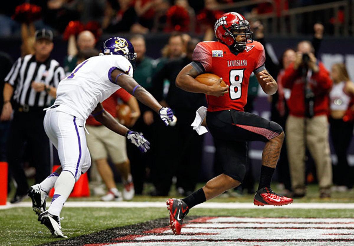 Louisiana-Lafayette quarterback Terrance Broadway (8) racked up 3,616 total yards in the 2012 season.