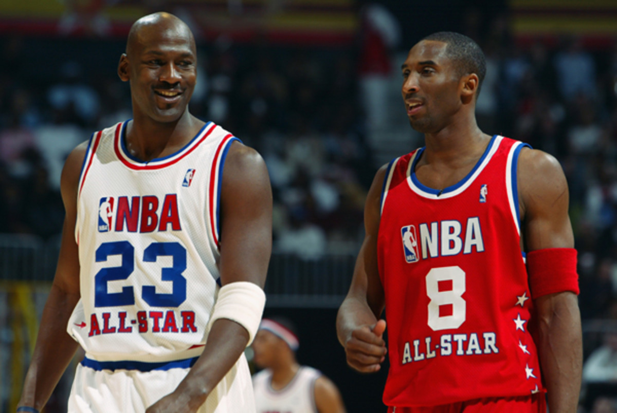 Michael Jordan (left) and Kobe Bryant faced off in the 2003 All-Star Game. (Jamie Squire/Getty Images)