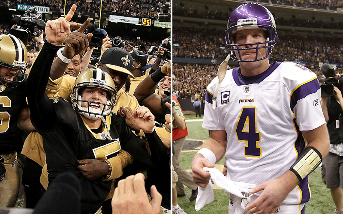 The ecstasy and agony: Garrett Hartley's field goal made him a hero in New Orleans, and Brett Favre a goat to the rest of the nation. (Jed Jacobsohn/Getty Images :: Damian Strohmeyer/SI)