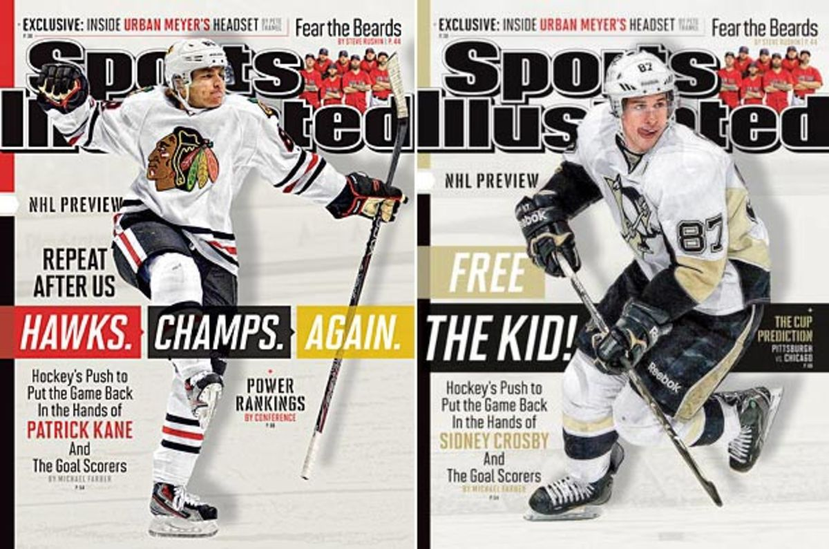 Patrick Kane and SIdney Crosby on covers of Sports Illustrated's September 30, 2013 issue.