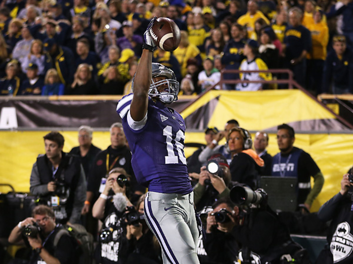 Kansas State's Tyler Lockett was unstoppable on Saturday night, catching all three of Kansas State's TDs. (Christian Petersen/Getty Images)