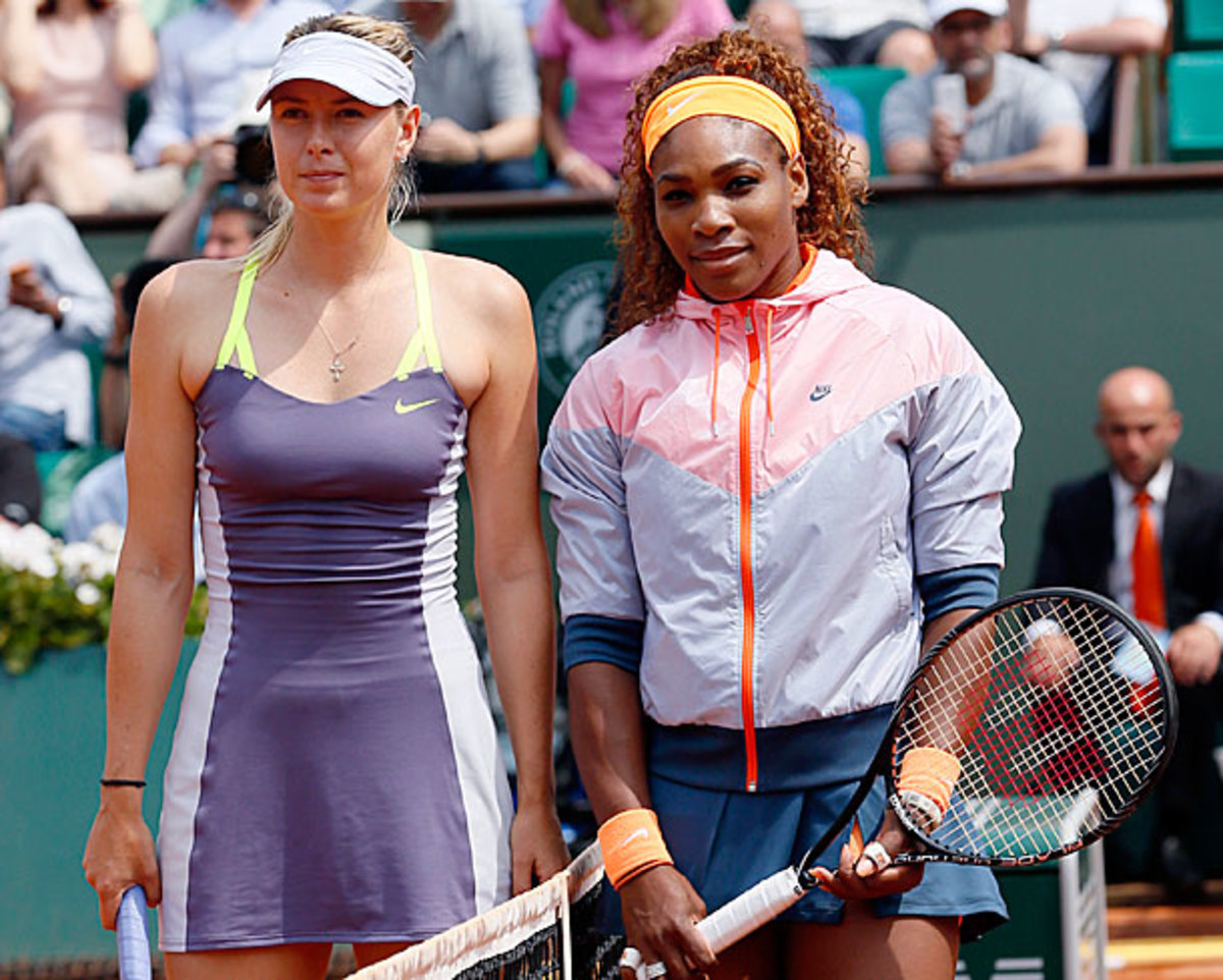 Serena Williams (right) beat Maria Sharapova in the French Open final earlier this month. (Patrick Kovarik/AFP/Getty Images)