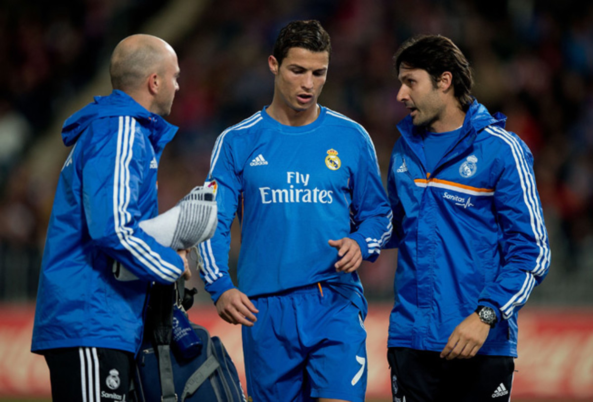 Real Madrid's Cristiano Ronaldo walks off the field during last Saturday's match against Almeria with a hamstring injury.