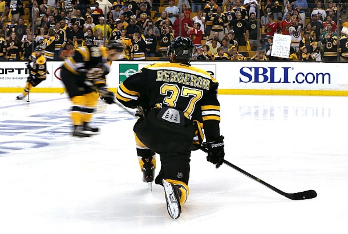 Patrice Bergeron will be back with a long-term deal, but the Bruins have upgrades to make. (Getty Images)