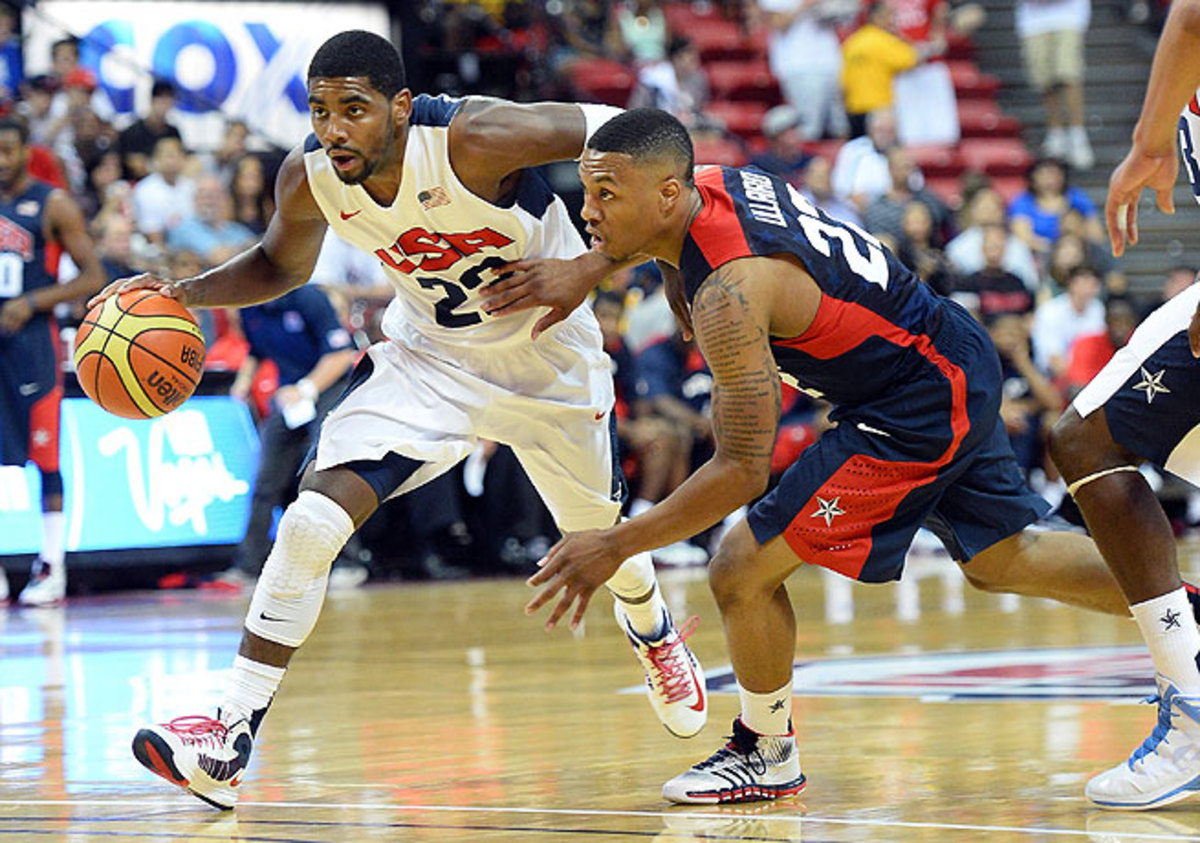 Kyrie Irving (left) finished with 23 points and seven assists in the White team's win.