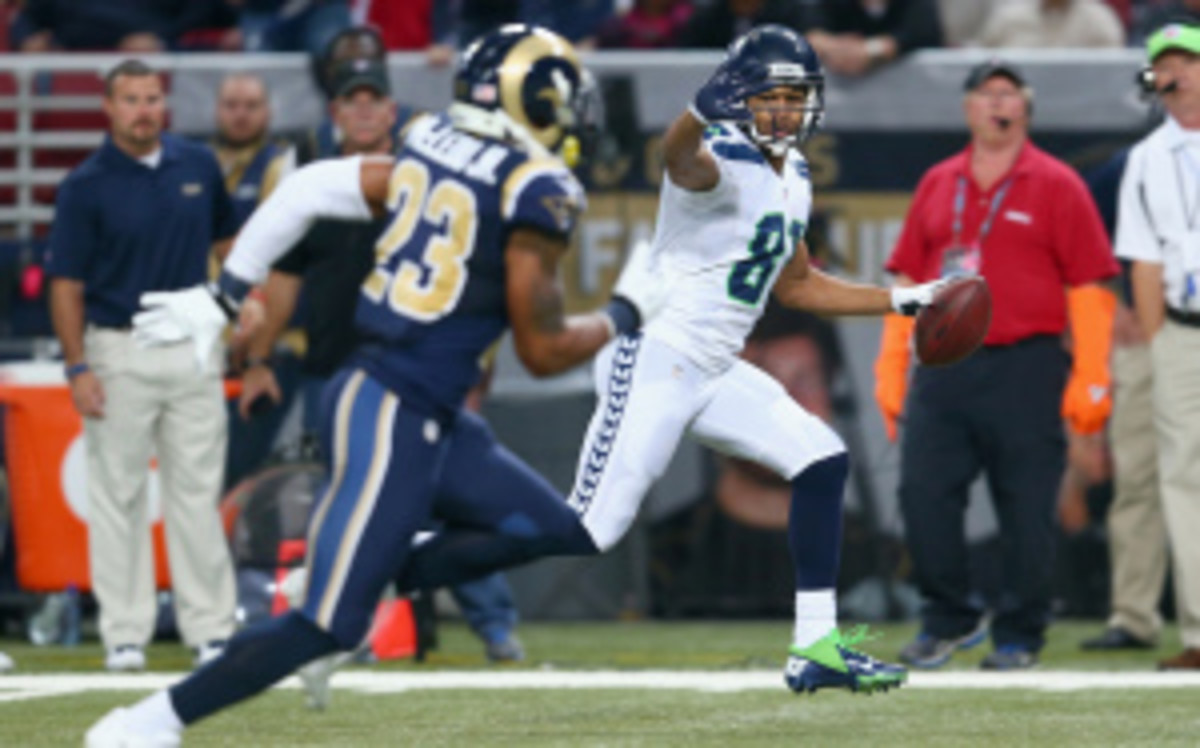 The NFL will reportedly consider negating touchdowns for taunting penalties, which would've affected Seahawks wide receiver Golden Tate's game winning 80-yard touchdown against the Rams on Monday. (Andy Lyons/Getty Images)