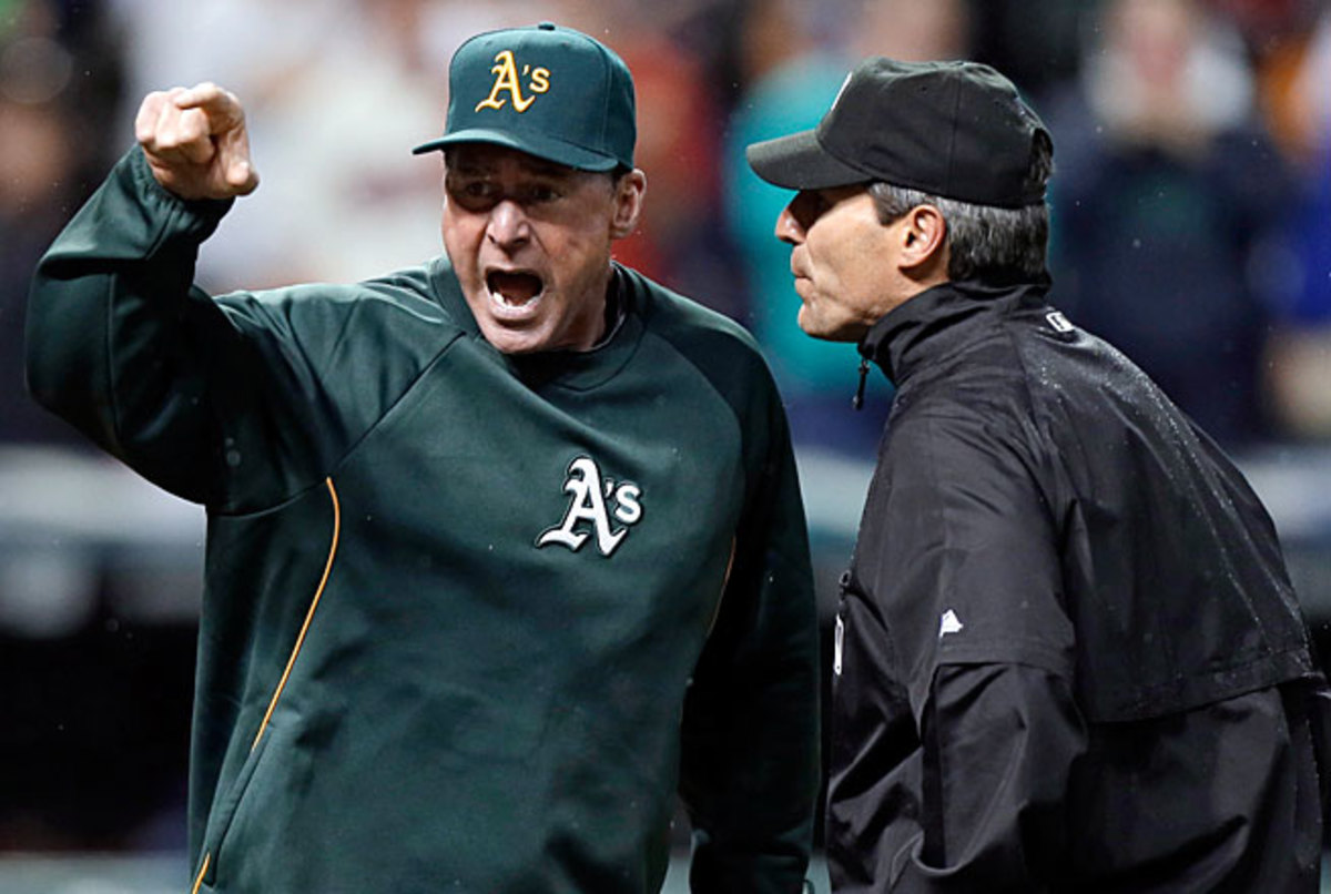 A's manager Bob Melvin was incensed when a blown call by umpire Angel Hernandez's crew was not overturned after a video review last week.
