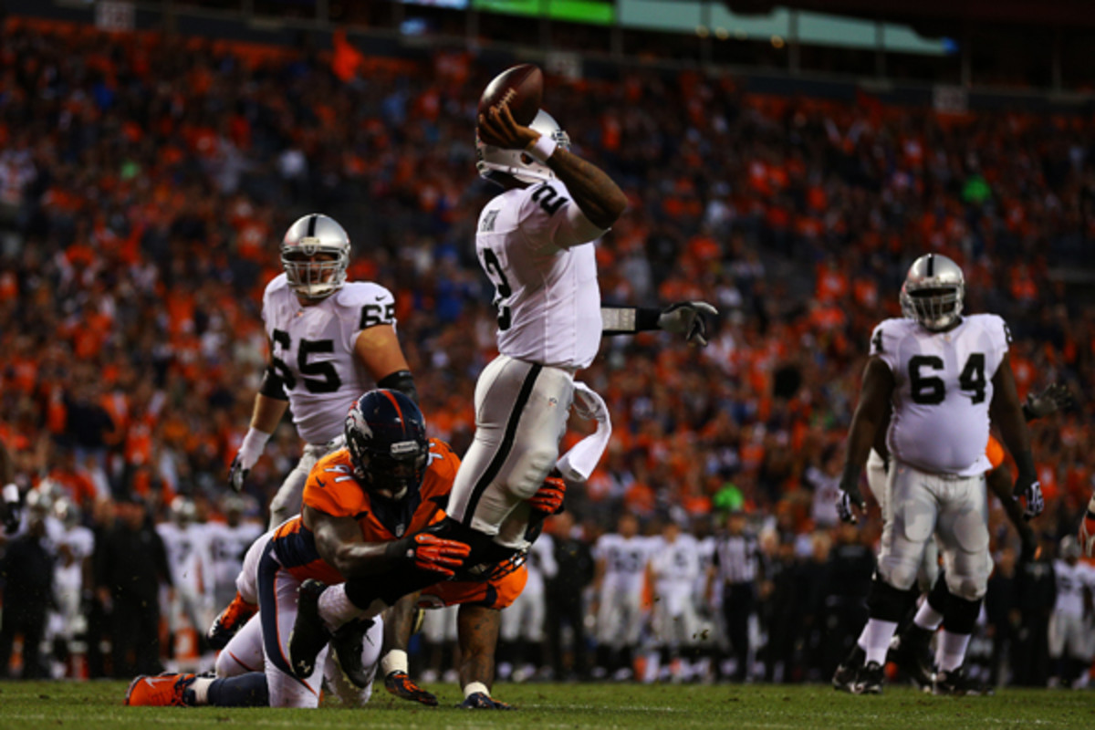 ...but Terrelle Pryor showed a few things despite constant pressure. (Justin Edmonds/Getty Images)