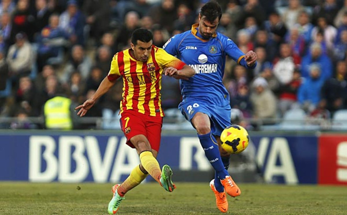 Pedro put Barcelona in the lead with a hat trick in nine first-half minutes on Sunday.