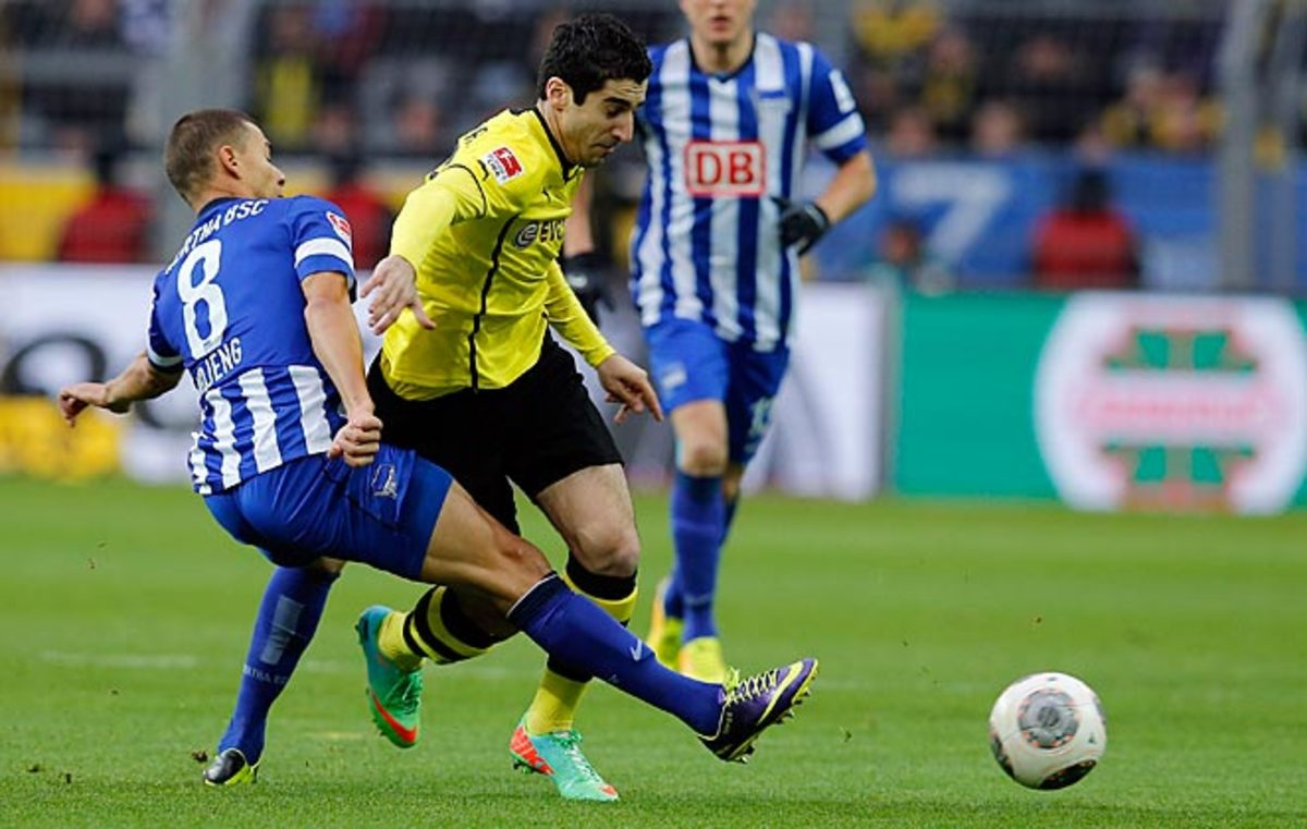 Borussia Dortmund missed a chance to make up ground on Bayern Munich with a loss to Hertha Berlin.