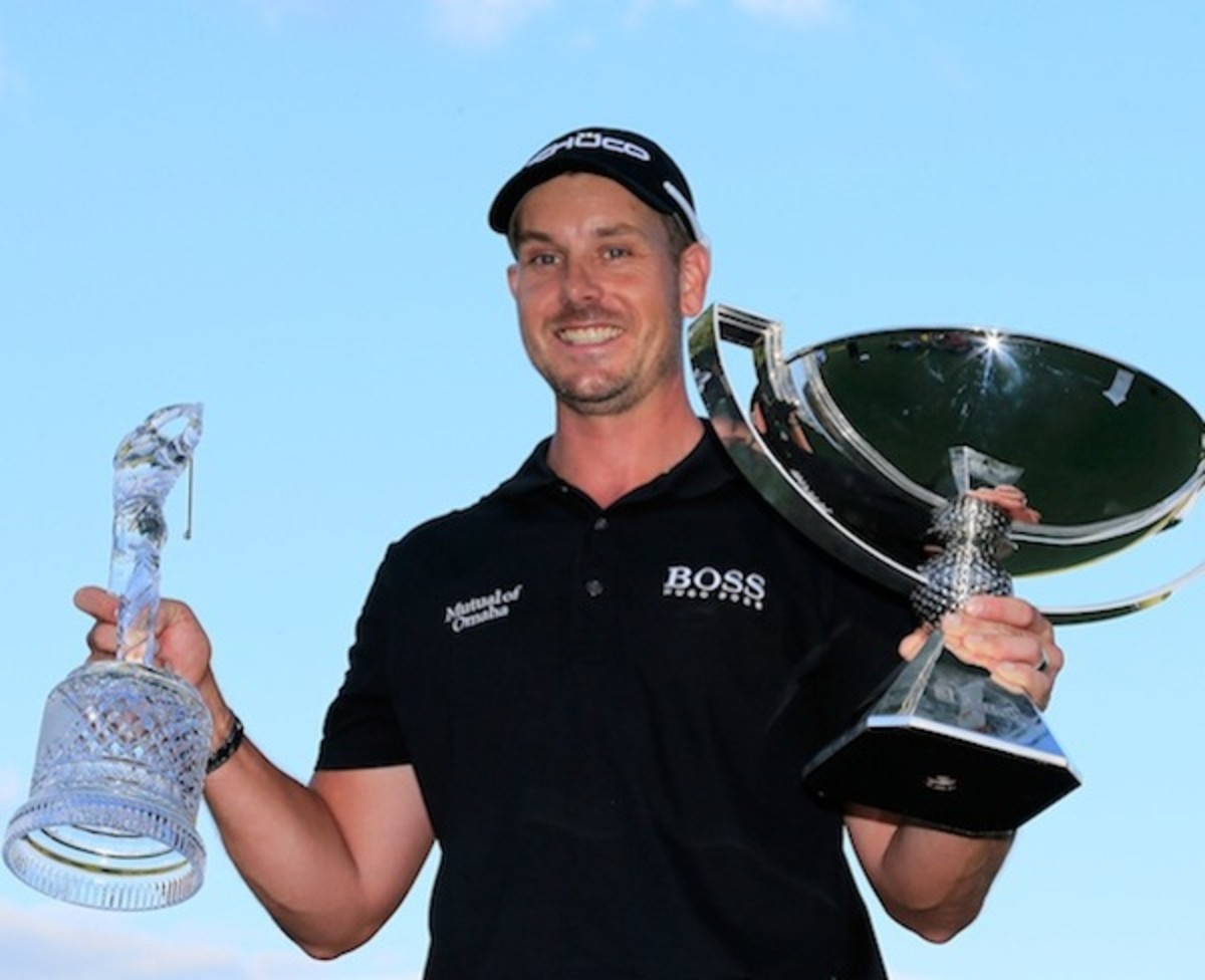 Stenson with the Tour Championship trophy and the FedEx Cup