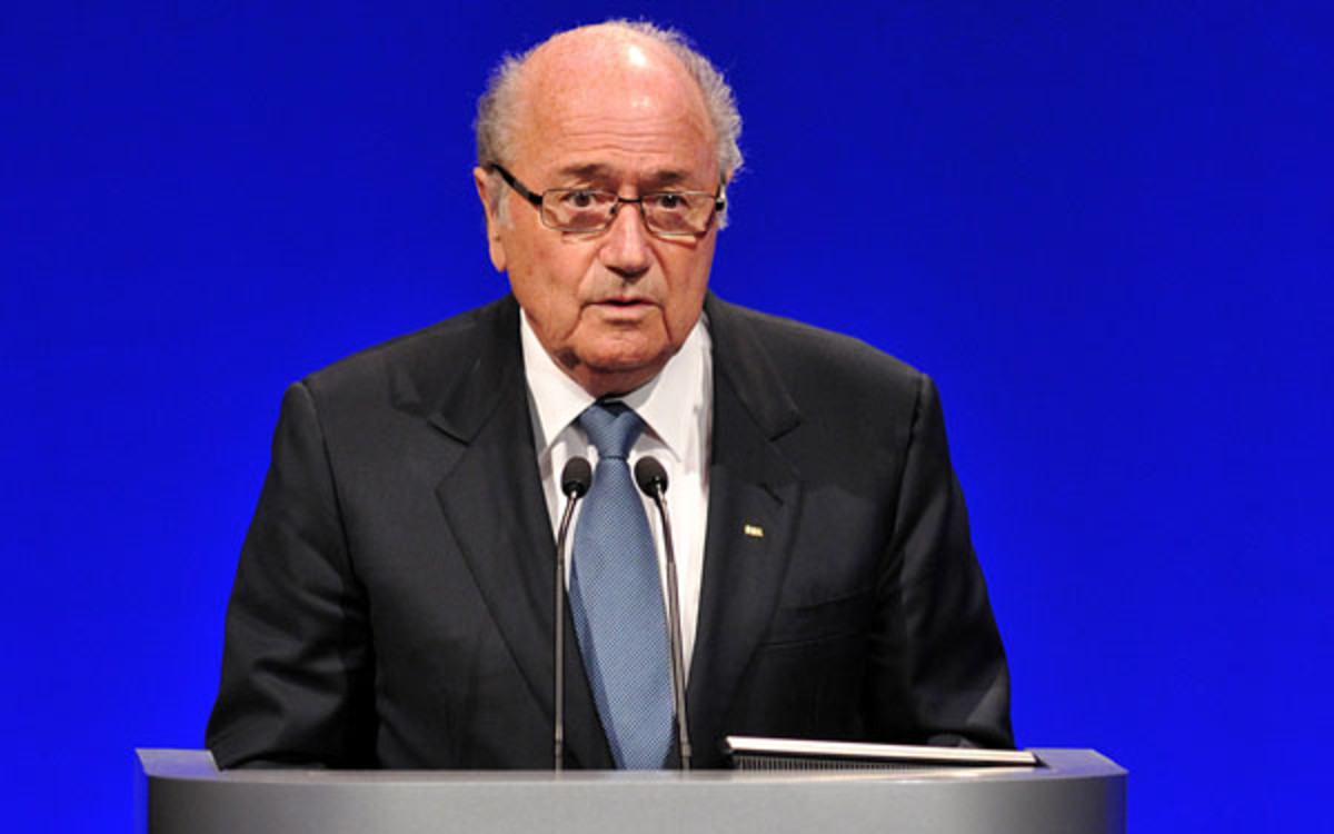 "FIFA president Sepp Blatter referred to an executive committee candidate as ""good looking."" (Carl Court/AFP)"