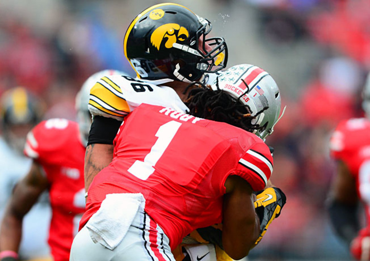 Ohio State's Bradley Roby (1) was ejected from last week's game for a hit on Iowa's C.J. Fiedorowicz.