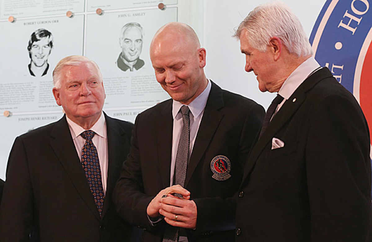 Pat Quinn and Bill Hay with Mats Sundin at the Hockey Hall of Fame