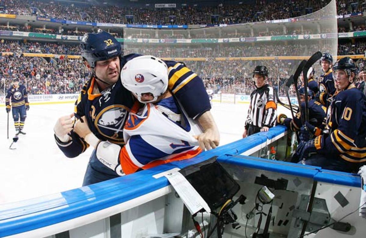 John Scott of the Buffalo Sabres is facing NHL suspension.